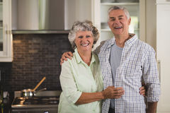 Portrait of happy senior couple standing in kitchen Royalty Free Stock Image