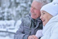Senior couple at winter outdoors Royalty Free Stock Photos