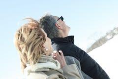 Portrait of happy senior couple in winter season Royalty Free Stock Images