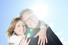 Portrait of happy senior couple in winter season Royalty Free Stock Image