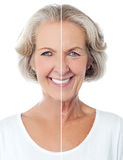Portrait of a happy senior lady stock photography
