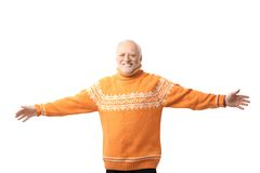 Portrait of happy senior man arms outstretched. Laughing. Isolated on white background royalty free stock photos
