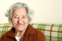 Portrait of a happy senior woman stock image