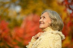 Happy senior woman. Portrait of a happy senior woman outdoors royalty free stock images