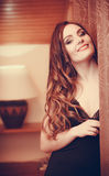 Portrait of happy sensual young woman in lingerie. Royalty Free Stock Photo