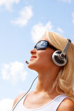 Portrait of happy sexy young woman with headphones Stock Photo