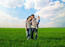 Portrait of happy and smiley family Stock Photos