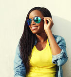 Portrait happy smiling african woman in colorful clothes Stock Images