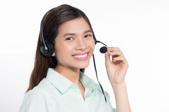 Portrait of happy smiling asian woamn support phone operator in Royalty Free Stock Images