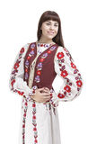 Portrait of Happy Smiling Brunette Woman Posing in Unique Hand-Made Flowery National Costume Dress Royalty Free Stock Image