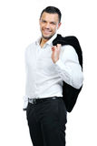 Portrait of happy smiling business man, isolated on white royalty free stock images