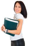Portrait of happy smiling business woman with fold Stock Image