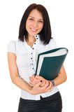 Portrait of happy smiling business woman with fold Stock Photo