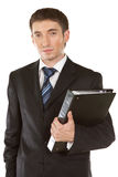 Happy smiling businessman with folder Stock Photo