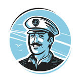 Portrait of happy smiling captain. Sailor, seafarer, seaman logo or label. Vector illustration Royalty Free Stock Photos