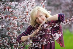 Portrait of happy smiling Caucasian blond woman with long hair near blossoming plum cherry tree, no teeth, looking to the camera royalty free stock photos