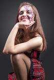 Portrait of Happy Smiling Caucasian Brunette Woman Painted with Royalty Free Stock Photography