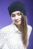 Portrait of Happy Smiling Caucasian  Girl in Hat Looking Straight To Camera. Stock Photos