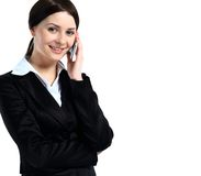 Portrait of happy smiling cheerful beautiful young businesswoman with phone Royalty Free Stock Image