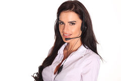 Portrait of happy smiling cheerful support phone operator in headset. Royalty Free Stock Photography