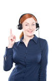 Portrait of happy smiling cheerful support phone operator Stock Images