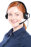 Portrait of happy smiling cheerful support phone operator Royalty Free Stock Image