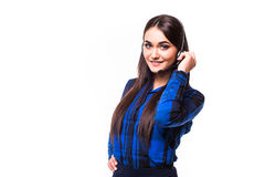 Portrait of happy smiling cheerful support phone operator in headset, isolated on white background Stock Photo