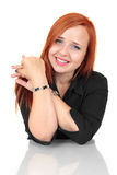 Portrait of happy smiling cheerful young business woman Stock Photos
