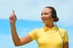 Portrait of happy smiling cheerful young support phone operator Stock Photography