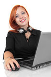 Portrait of happy smiling cheerful young support phone operator in headset with laptop Royalty Free Stock Photos