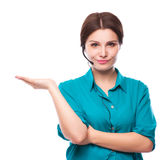 Portrait of happy smiling cheerful young support phone operator Royalty Free Stock Image