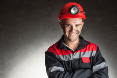 Portrait of happy smiling coal miner Royalty Free Stock Image