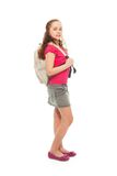 Happy  girl with backpack Stock Photos