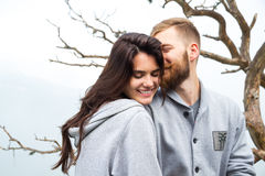 Portrait Happy Smiling Couple in love, beautiful couple embraces Royalty Free Stock Images