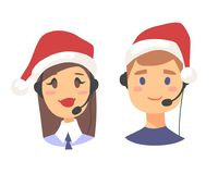 Portrait of happy smiling customer support phone operator in Christmas hat. Callcenter worker with headset. Cartoon. Portrait of smiling customer support phone Stock Image