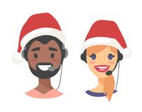 Portrait of happy smiling customer support phone operator in Christmas hat. Callcenter worker with headset. Cartoon. Portrait of smiling customer support phone Stock Photography