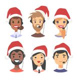 Portrait of happy smiling customer support phone operator in Christmas hat. Callcenter worker with headset. Cartoon. Portrait of smiling customer support phone Stock Photo