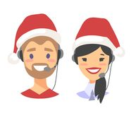 Portrait of happy smiling customer support phone operator in Christmas hat. Callcenter worker with headset. Cartoon. Portrait of smiling customer support phone Royalty Free Stock Images