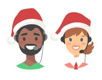 Portrait of happy smiling customer support phone operator in Christmas hat. Callcenter worker with headset. Cartoon. Portrait of smiling customer support phone Royalty Free Stock Photos