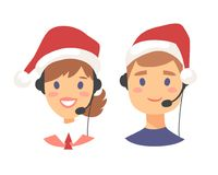 Portrait of happy smiling customer support phone operator in Christmas hat. Callcenter worker with headset. Cartoon. Portrait of smiling customer support phone Royalty Free Stock Photography