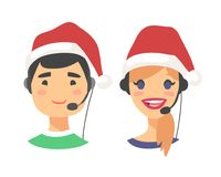Portrait of happy smiling customer support phone operator in Christmas hat. Callcenter worker with headset. Cartoon. Portrait of smiling customer support phone Stock Images