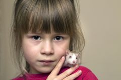Portrait of happy smiling cute child girl with white pet mouse hamster on light copy space background. Keeping pets at home, care. And love to animals concept stock images