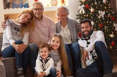 Portrait of happy family at Christmas royalty free stock photography