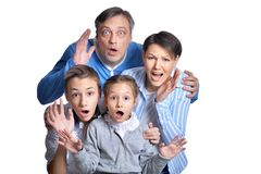 Portrait of happy smiling family posing together stock images