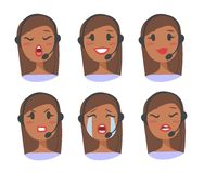 Portrait of happy smiling female customer support phone operator. Callcenter worker with headset. Cartoon  illustration afri. Can woman agent. Girl emoji avatar Stock Photo