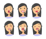 Portrait of happy smiling female customer support phone operator. Callcenter worker with headset. Cartoon vector illustration asia Stock Image