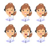 Portrait of happy smiling female customer support phone operator. Callcenter worker with headset. Cartoon vector illustration cauc. Asian woman agent. Girl emoji Stock Images