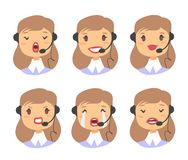 Portrait of happy smiling female customer support phone operator. Callcenter worker with headset. Cartoon vector illustration cauc. Asian woman agent. Girl emoji Stock Image