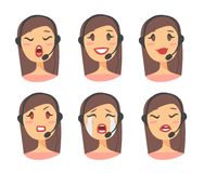 Portrait of happy smiling female customer support phone operator. Callcenter worker with headset. Cartoon vector illustration cauc. Asian woman agent. Girl emoji Stock Photos