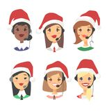 Portrait of happy smiling female customer support phone operator in Christmas hat. Callcenter worker with headset. Portrait of smiling female customer support Royalty Free Stock Image